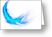 Lines Greeting Cards - Blue Feather Greeting Card by Setsiri Silapasuwanchai