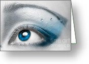 Cosmetics Greeting Cards - Blue Female Eye Macro with Artistic Make-up Greeting Card by Oleksiy Maksymenko
