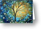 Madart Greeting Cards - Blue Fields Abstract Artwork MADART Greeting Card by Megan Duncanson