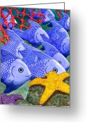 Coral Reef Greeting Cards - Blue Fish Greeting Card by Catherine G McElroy