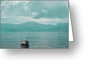 Beach Photo Greeting Cards - Blue fjord Greeting Card by Sonya Kanelstrand