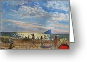 Sunbathing Greeting Cards - Blue flag and red sun shade Greeting Card by Andrew Macara