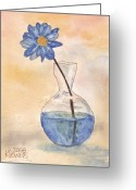 Ken Greeting Cards - Blue Flower and Glass Vase Sketch Greeting Card by Ken Powers