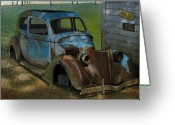 Antique Cars Greeting Cards - Blue Ford Greeting Card by Doug Strickland