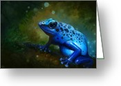 Magic  Digital Art Greeting Cards - Blue Frog Greeting Card by Caroline Jamhour