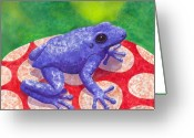 Frog Greeting Cards - Blue Frog Greeting Card by Catherine G McElroy