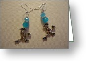 Earrings Jewelry Greeting Cards - Blue Frog Earrings Greeting Card by Jenna Green