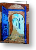 Oil Lamp Greeting Cards - Blue Gate Greeting Card by Ana Maria Edulescu