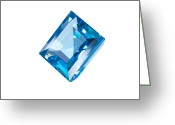 Carat Jewelry Greeting Cards - Blue Gem Isolated Greeting Card by Atiketta Sangasaeng