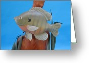 Wildlife Sculpture Greeting Cards - Blue Gill Greeting Card by Jack Murphy