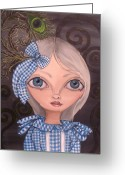 Jaz Greeting Cards - Blue Gingham and Peacock Feathers Greeting Card by Jaz Higgins