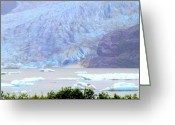 Skagway Greeting Cards - Blue Glacier Greeting Card by Mindy Newman