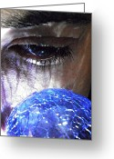 Young Man Greeting Cards - Blue Glass World Greeting Card by Sarah Loft
