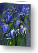 Iris Art Mixed Media Greeting Cards - Blue Goddess Greeting Card by Carol Cavalaris