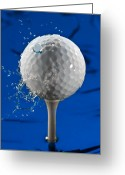 Green Water Greeting Cards - Blue Golf Ball Splash Greeting Card by Steve Gadomski