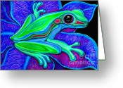 Colorful Drawings Greeting Cards - Blue Green Frog Greeting Card by Nick Gustafson