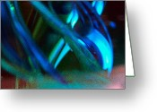 Bletila Striata Greeting Cards - Blue Green Texture Greeting Card by Don  Wright