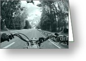 Fisheye Greeting Cards - Blue Harley Greeting Card by Micah May
