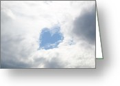 Sentiments Greeting Cards - Blue heart in sky Greeting Card by Mats Silvan