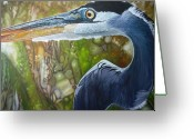 Jon Ferrentino Greeting Cards - Blue Heron Greeting Card by Jon Ferrentino