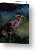 White And Purple Wings Greeting Cards - Blue Heron Painting II Greeting Card by Don  Wright