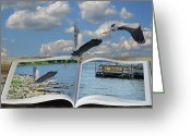 Heron.birds Greeting Cards - Blue Heron Storybook Greeting Card by Steven  Michael