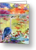 Ginette Fine Art Llc Ginette Callaway Greeting Cards - Blue Heron Sunset Watercolor by Ginette Greeting Card by Ginette Fine Art LLC Ginette Callaway
