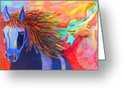 Representative Abstract Greeting Cards - Blue Horse in Red Canyon Greeting Card by David Raderstorf