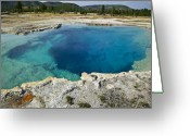 Rocky Mountains Greeting Cards - Blue hot springs Yellowstone National Park Greeting Card by Garry Gay
