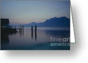Evening Scenes Photo Greeting Cards - Blue hour at dawn on Lago Maggiore Greeting Card by Heiko Koehrer-Wagner