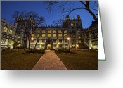 College Campus Greeting Cards - Blue Hour Harper Greeting Card by CJ Schmit