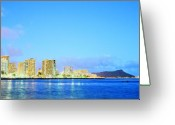 Diamond Head Greeting Cards - Blue Hour Honolulu Greeting Card by Doug Robinson