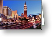 Las Vegas Greeting Cards - Blue Hour In Las Vegas Greeting Card by Bert Kaufmann Photography