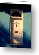 Blue House Greeting Cards - Blue House Door Greeting Card by Susanne Van Hulst