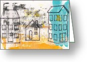 Blue Mixed Media Greeting Cards - Blue House Greeting Card by Linda Woods