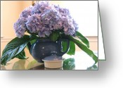 Lipton Greeting Cards - Blue Hydrangea Bouquet Greeting Card by Diana  Tyson