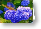 Blue Flowers Digital Art Greeting Cards - Blue Hydrangea Greeting Card by Methune Hively