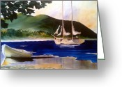 Bay Islands Painting Greeting Cards - Blue Interlude Greeting Card by Don F  Bradford