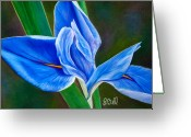 Blue Leaves Greeting Cards - Blue Iris Greeting Card by Laura Bell