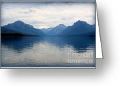 Lake Mcdonald Greeting Cards - Blue Lake McDonald Greeting Card by Carol Groenen