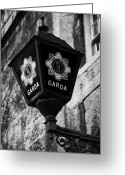 Eire Greeting Cards - Blue Lamp Above Station Door For The Garda Siochana Na Heireann The Irish Police Force In Dublin Greeting Card by Joe Fox