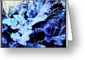 Droid Greeting Cards - Blue Leaf Special #blue #android Greeting Card by Marianne Dow