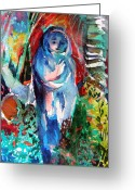 Peace Drawings Greeting Cards - Blue Madonna Greeting Card by Mindy Newman