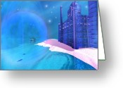 Sailboat Picture Greeting Cards - Blue Mansions Greeting Card by Corey Ford