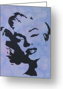 Marilyn Munroe Greeting Cards - Blue Marilyn Greeting Card by Rosetta  Jallow