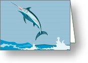 Jumping Digital Art Greeting Cards - Blue Marlin  Greeting Card by Aloysius Patrimonio