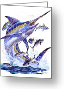 Virgin Islands Painting Greeting Cards - Blue Marlin Greeting Card by Carey Chen