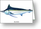Stripes Greeting Cards - Blue Marlin Greeting Card by Charles Harden