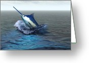 Sea Creature Greeting Cards - Blue Marlin Greeting Card by Corey Ford
