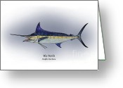 Game Drawings Greeting Cards - Blue Marlin Greeting Card by Ralph Martens